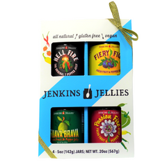 Boxed Gift Set of Pepper Jellies; Hell Fire, Fiery Figs, Guava Brava, Passion Fire