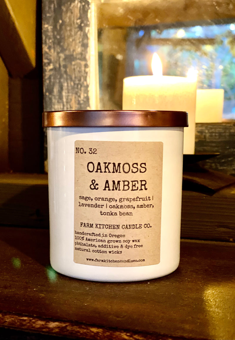 NO. 32 OAKMOSS & AMBER - SOY CANDLE- BY FARM KITCHEN CANDLE CO.