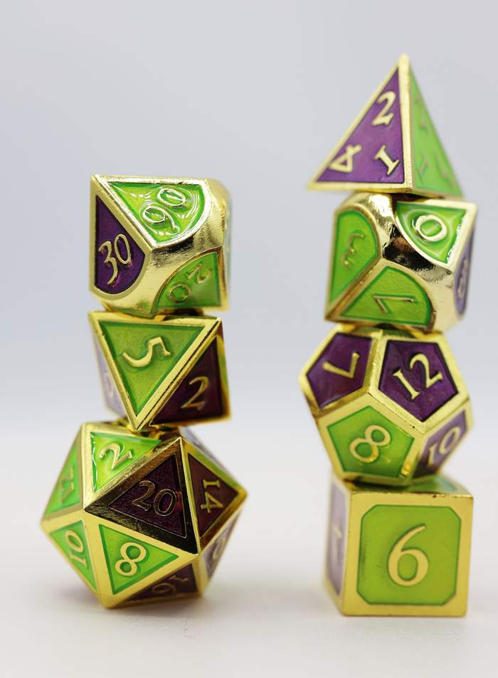 16mm Metal Polyhedral Dice Set - Dual Amethyst and Green | Gamers Grove