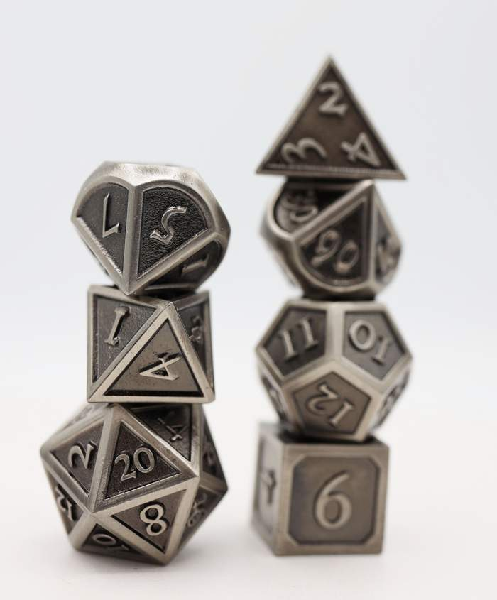 16mm Metal Polyhedral Dice Set - Embossed Antique Silver | Gamers Grove