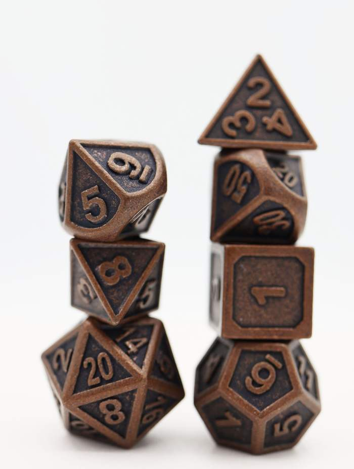16mm Metal Polyhedral Dice Set - Embossed Antique Copper | Gamers Grove