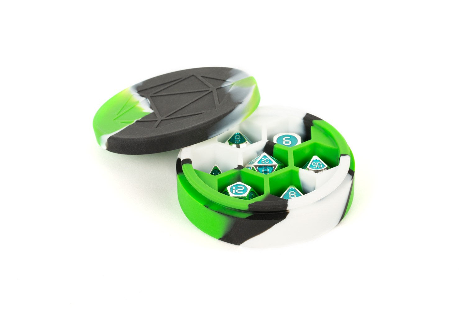 Silicone Round Dice Case: Green/Black/White | Gamers Grove