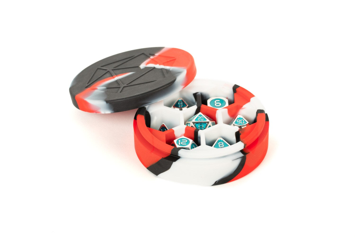 Silicone Round Dice Case: Red/Black/White | Gamers Grove
