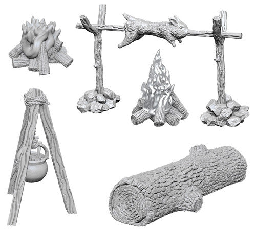 WizKids Deep Cuts Unpainted Miniatures: Camp Fire & Sitting Log | Gamers Grove