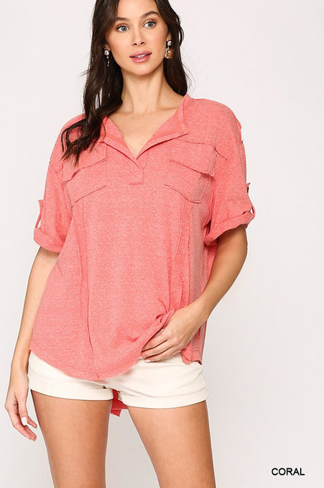 Ainslee Roll-Up Top in Coral