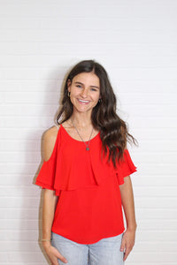 Cameron Cold Shoulder Top in Red