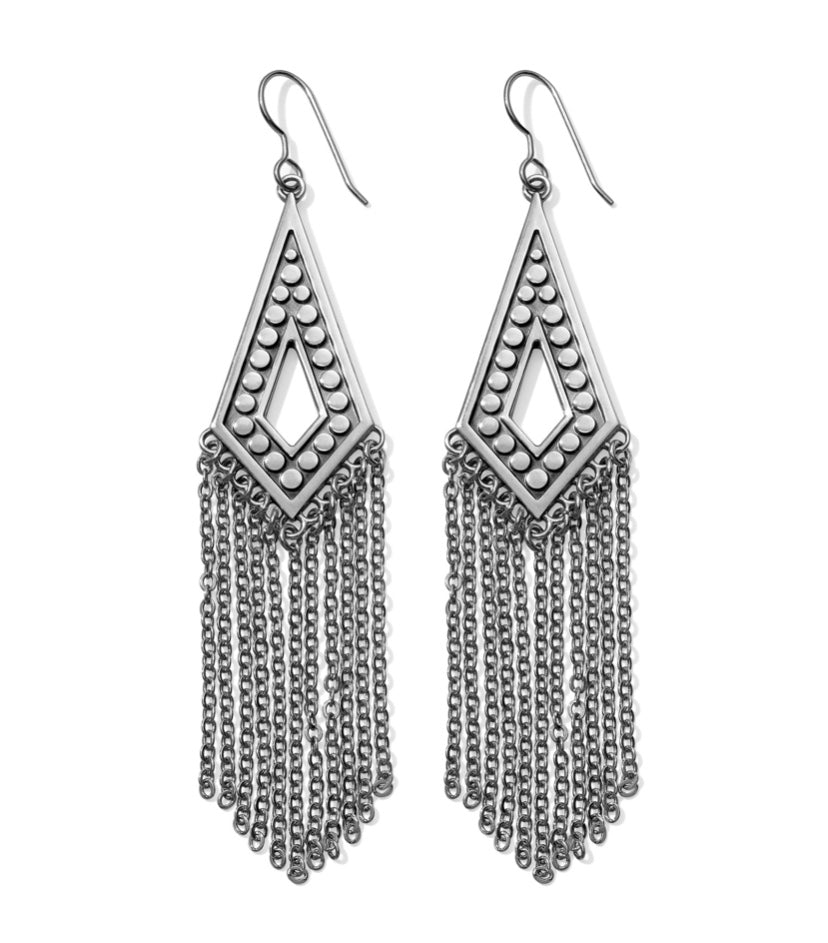 Pebble Disc Fringe French Wire Earrings