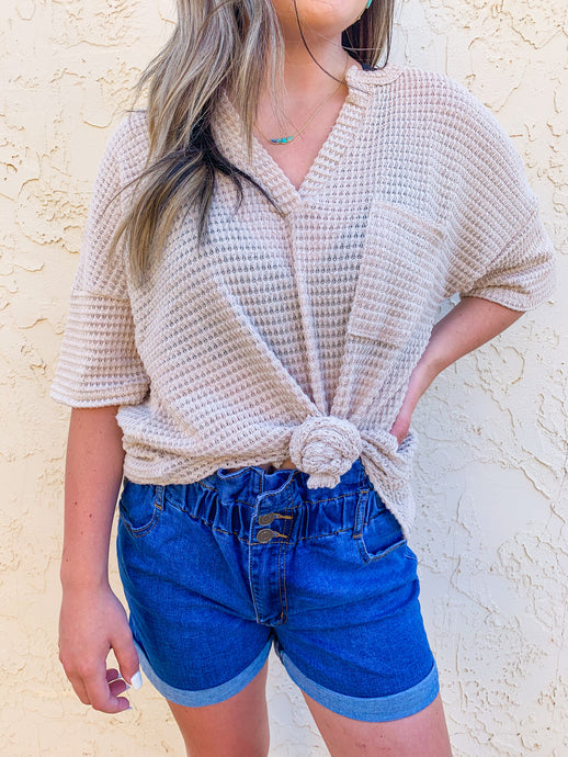 Audrey Waffle Knit Tee in Oatmeal