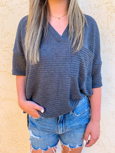 Audrey Waffle Knit Tee in Charcoal