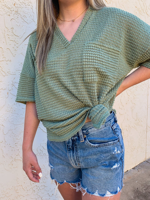 Audrey Waffle Knit Tee in Olive