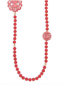 Uptown Swirl Beaded Long Necklace