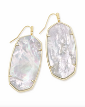 Faceted Danielle Gold Earrings in Ivory Mother of Pearl