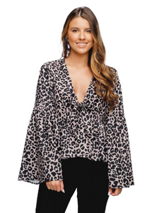 Loni Bell-Sleeved Front Tie Top