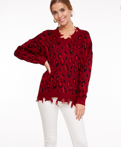 Hallie Red Cheetah Sweater