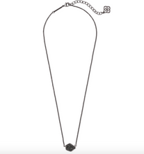 Tess Small Pendant Necklace in Black Drusy