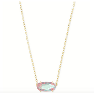 Ever Gold Pendant Necklace in Blush Dichroic Glass