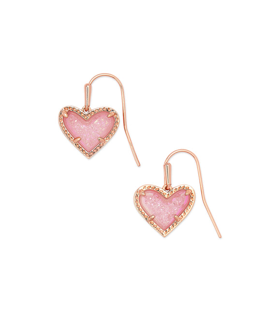Ari Heart Rose Gold Drop Earrings
