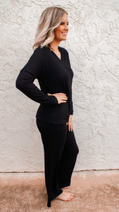 Comfort V-Neck Wide Leg Lounge Set