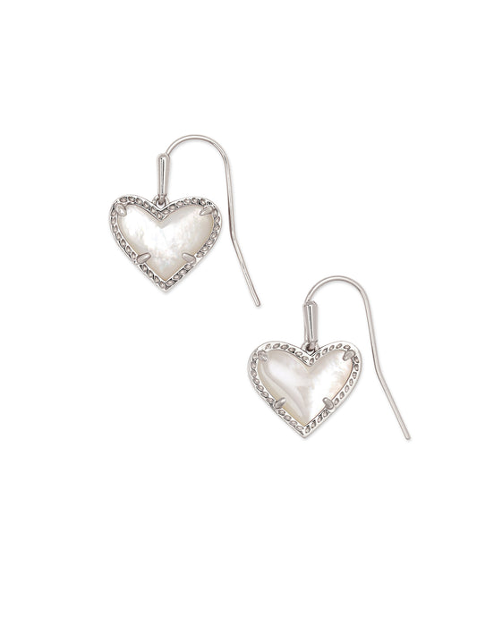 Ari Heart Silver Drop Earrings