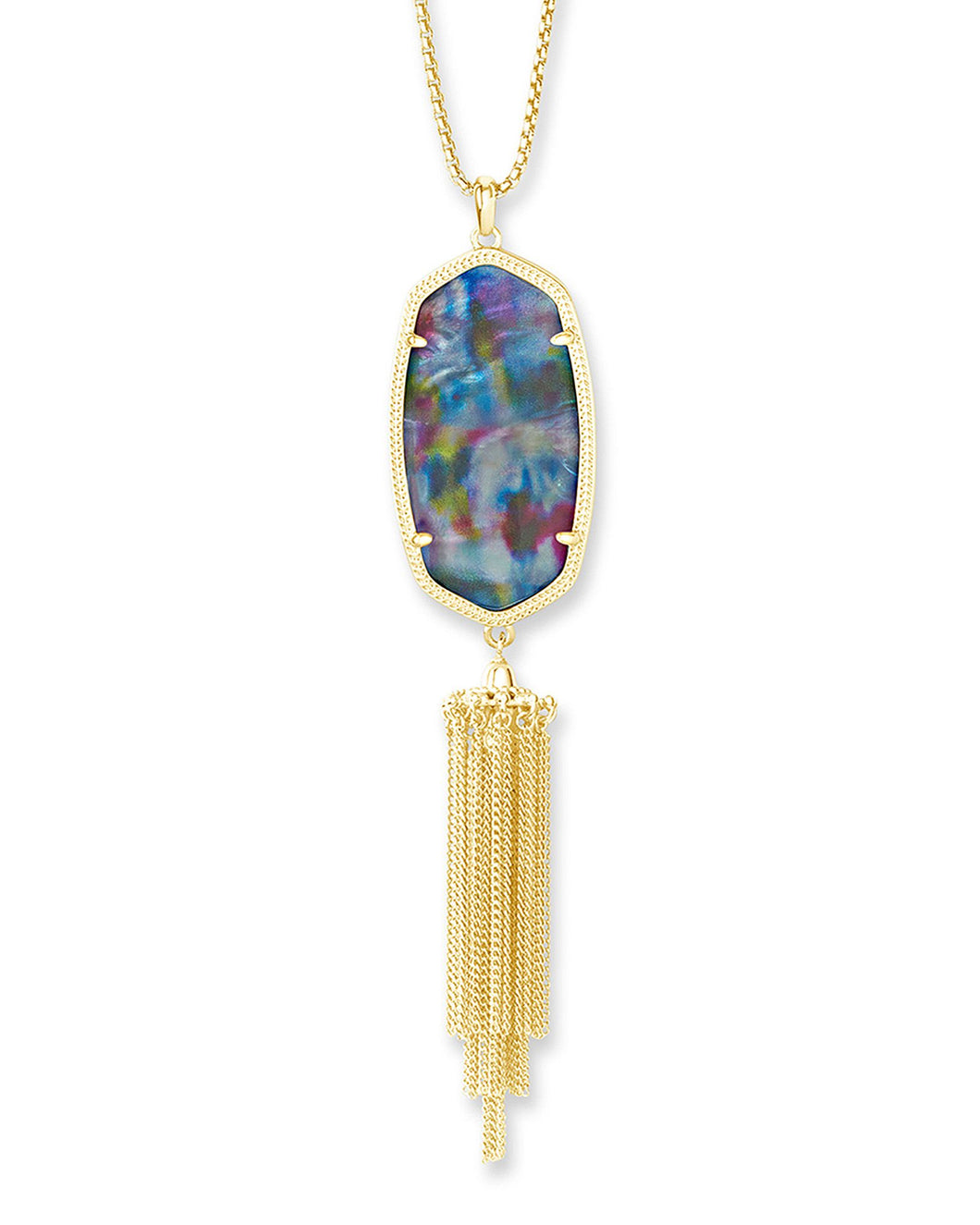 Rayne Gold Long Necklace in Teal Tie Dye Illusion