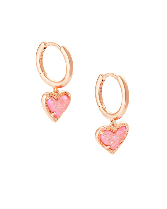 Ari Heart Rose Gold Huggie Earrings