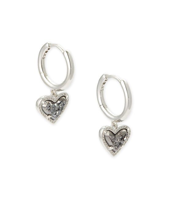Ari Heart Silver Huggie Earrings