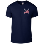 Sportabella Distressed USA Lacrosse Adult Lightweight Tee - Navy