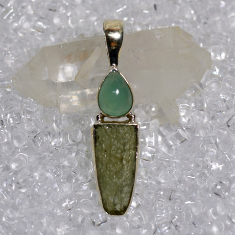 Moldavite And Aquaprase Pendant
