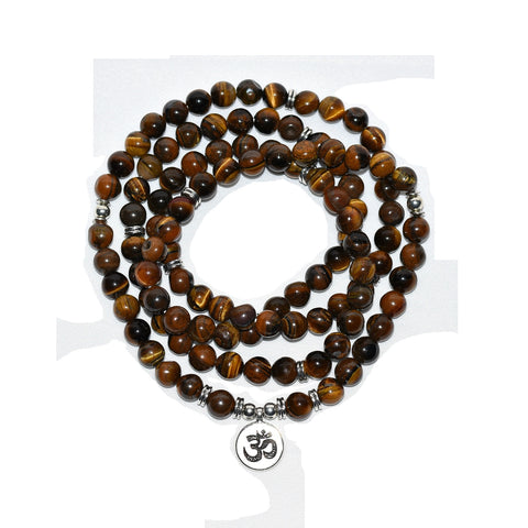 Tiger's Eye 108 Bead Om Mala