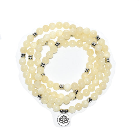 White Calcite 108 Bead Lotus Mala