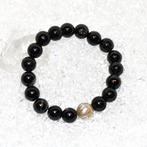 """Om Mani Padme Hum"" Shell And Black Tourmaline Mala Bracelet 10mm One"