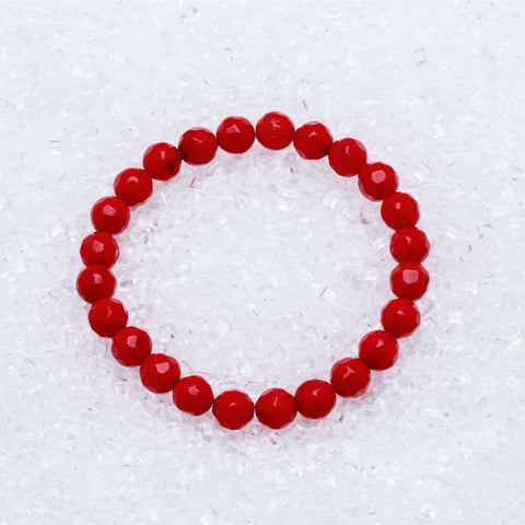 Coral Bracelet Faceted 8mm