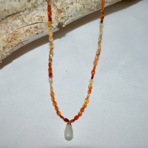 Fire Opal & Moonstone Necklace
