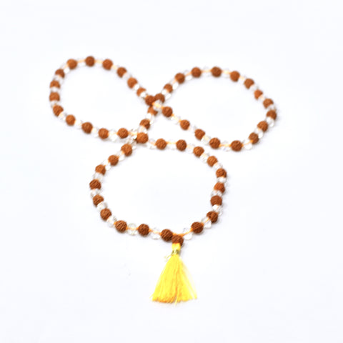 Rudraksha And Rainbow Crystal 108 Bead Mala