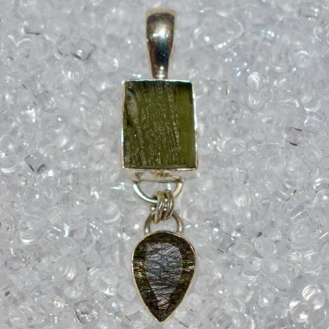 Moldavite & Tourmilated Quartz Pendant