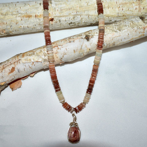 Moonstone & Fire Opal Necklace - Malabeads