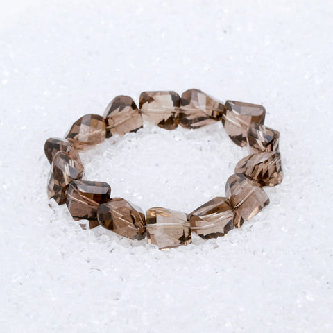 Smokey Quartz Bracelet Faceted Nugget
