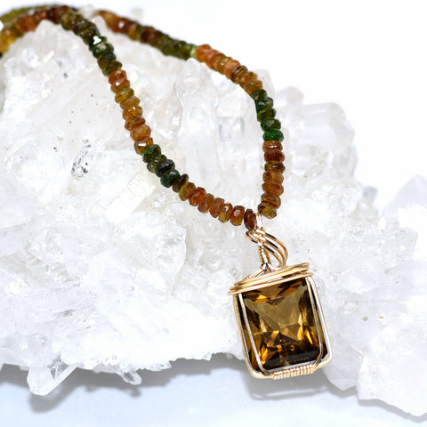 Tourmaline & Whiskey Citrine Necklace