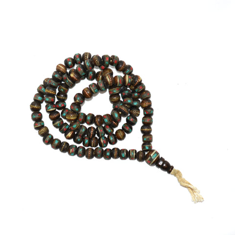 Yak Bone 108 Bead Mala Brown