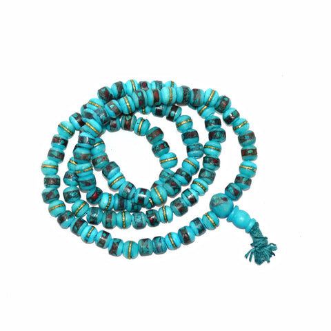Yak Bone 108 Bead Mala Teal