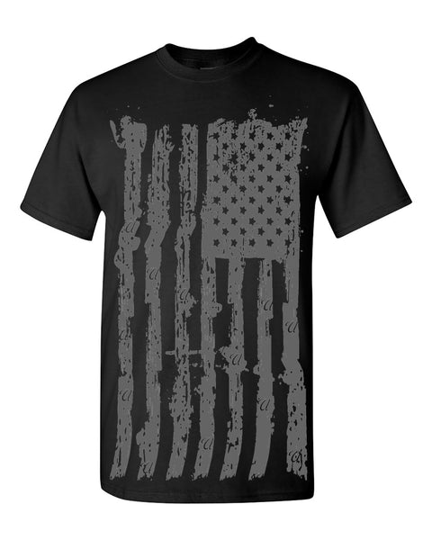 Flag Tribute Crew Tee - Black/Grey