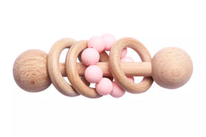 Baby/Infant Silicone Wooden Rattle Toy