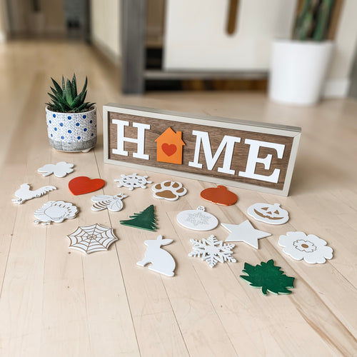 DIY Interchangeable Home Sign with Built-In Storage Box
