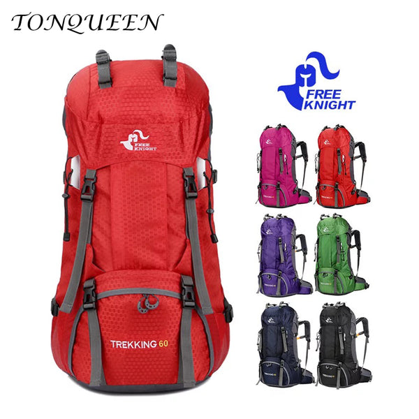 60L Outdoor Waterproof Hiking Camping Travel Backpack with Rain Cover