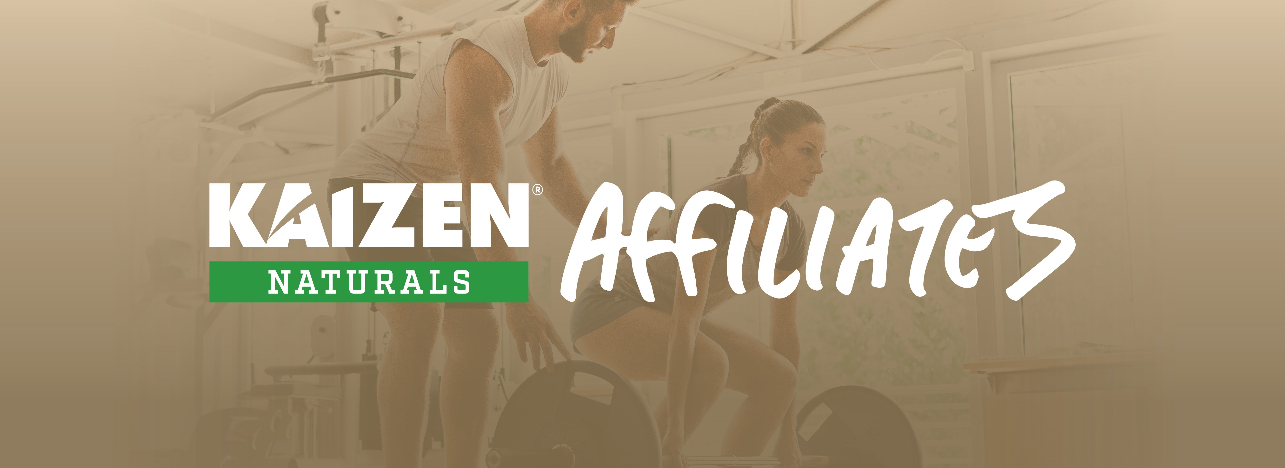 Man helping woman work out, includes Kaizen Naturals Affiliates logo