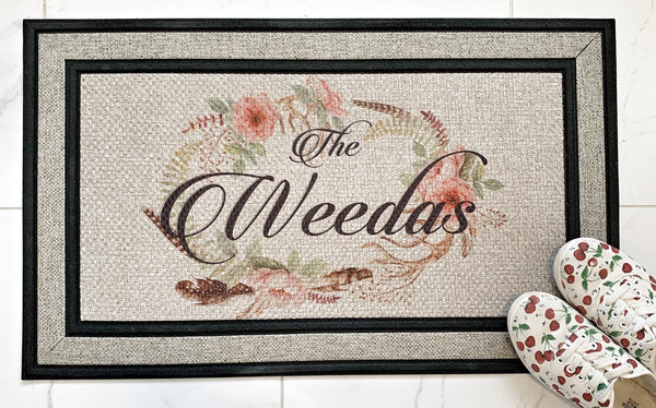 Grey personalized door mat