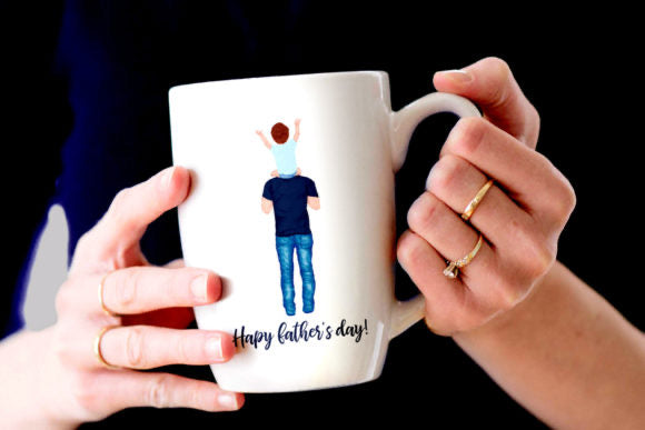 Father and children mug