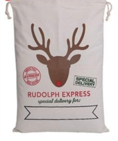Brown reindeer Santa sack