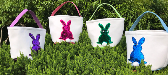 Sequin bunny bag samples