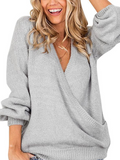 Micasahi Deep V-Neck Wrap Front Loose Sweater